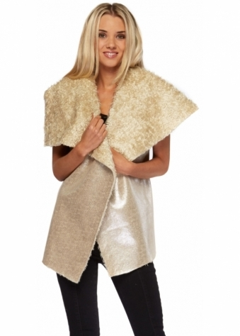 Faux Shearling Gold Leather Look Gilet