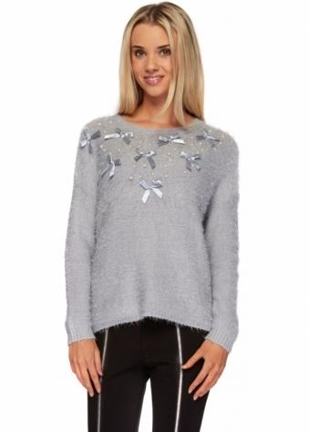Designer Desirables Grey Pearls & Bows Fluffy Knit Jumper