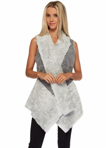 Monton Long Gilet In Two Tone Grey Faux Shearling