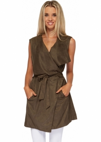 French Boutique Khaki Tie Belt Suede Gilet With Oversized Lapels