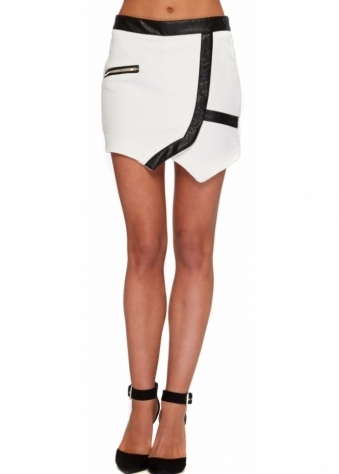 Soft White Bubble Textured PVC Detail Mini Skirt
