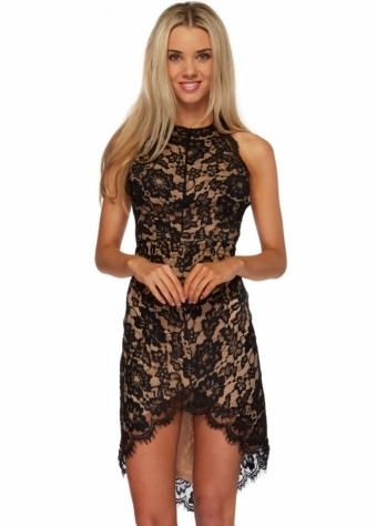 Ginger Fizz A Fine Romance Eyelash Black Lace Mini Dress