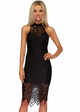 Ginger Fizz Heartbreaker Dress Black Lace Halterneck Midi