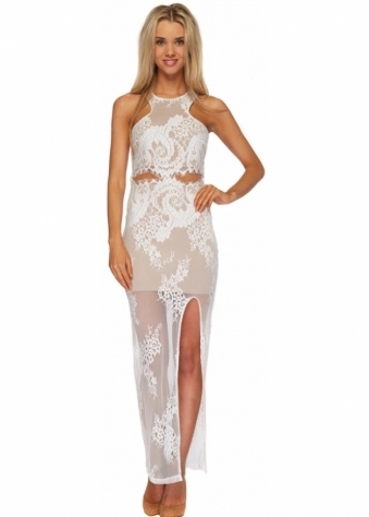 Chandelier Dress White Lace Racer Back Maxi