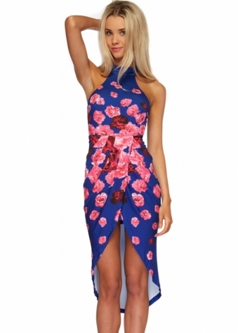 Ginger Fizz Drifting Away Dress Blue & Pink Floral Print Wrap Front