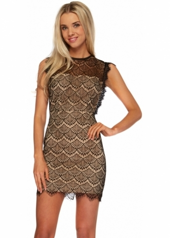 Ginger Fizz Delicate Edge Dress Black & Nude Lace Mini