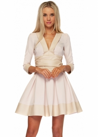 Just Unique Dusky Pink With Beige PU Cayla Mini Skater Dress