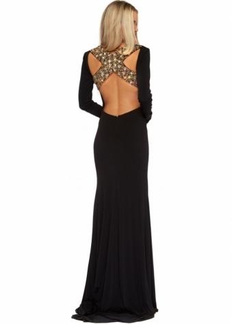 Long Sleeved Jewel Encrusted Backless Bonita Evening Dress