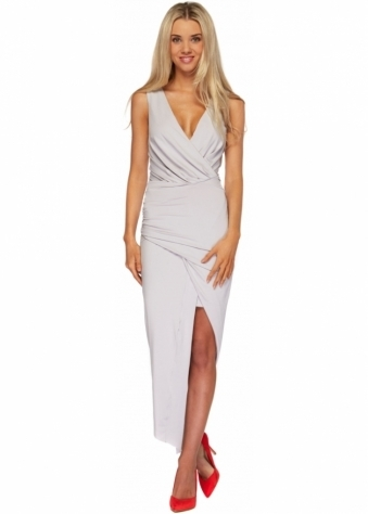 Ginger Fizz Grey Wrap Over Dip Hem Asymmetric Aphrodite Dress