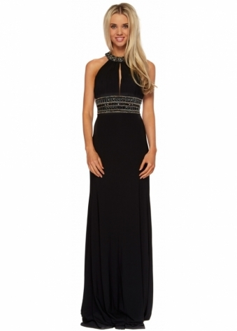Corset And Dresses Black Backless Beaded Halterneck Felicity Maxi Dress
