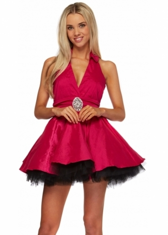 Goddess London Hot Pink Halterneck Prom Dress With Black Net Skirt