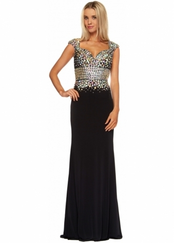 Corset And Dresses Black Crystal Adorned Sweetheart Neckline Sherri Evening Dress