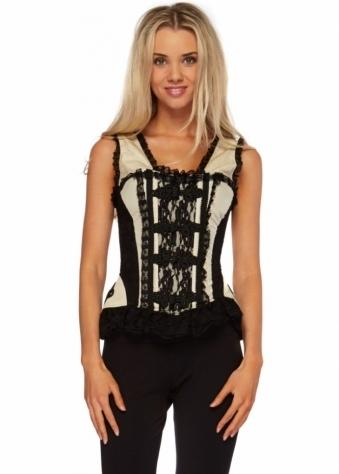 Burleska Jasmin Black & Cream Overbust Lace Back Corset