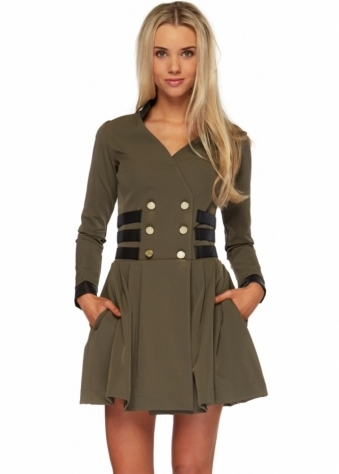 Just Unique Khaki Shirt Style Skater Daria Mini Dress