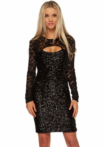 Chloe Black Sequinned Dress With Lace Sleeves