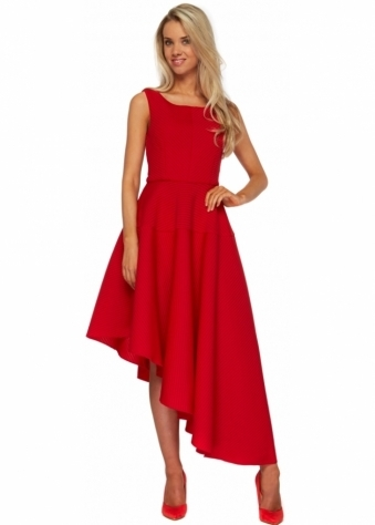 Goddess London Red Textured Asymmetric Midi Length Skater Dress