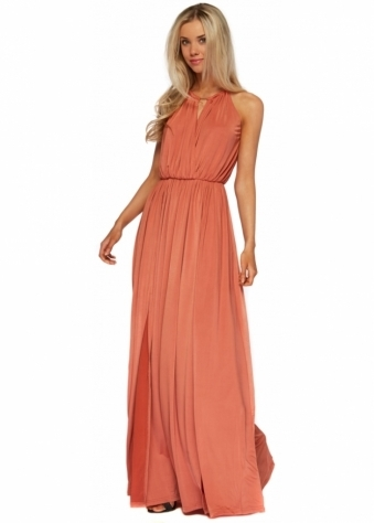 Jessica Wright Georgia Rust Halterneck Silky Maxi Dress