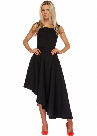 Black Textured Asymmetric Midi Length Skater Dress