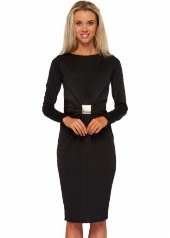 Goddess London Black Buckle Bow Long Sleeved Pencil Dress