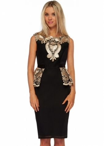Black Mesh Gold Embroidered Peplum Pencil Dress
