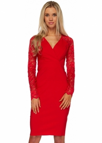 Goddess London Red Long Sleeved Lace Pencil Dress