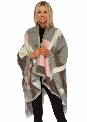 Monton Colour Block Baby Pink & Grey Blanket Cape