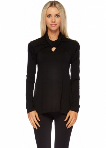 Black Jersey Long Sleeved Beaded Shoulders Top