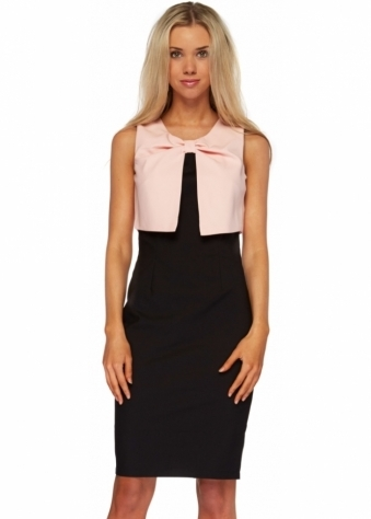 Paper Dolls Pink & Black Twist Bodice Pencil Dress