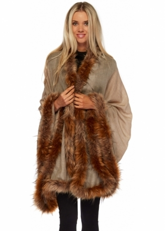 Designer Desirables Luxe Mocha Pashmina Wool Faux Fur Trimmed Cape