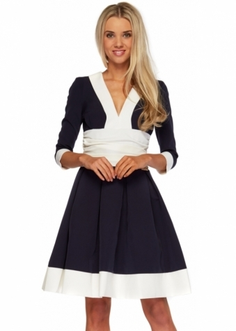 Navy Contrast Hem Long Sleeve Midi Length Cayla Dress