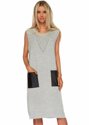 Designer Desirables Light Grey Knitted Jumper Dress With PU Pockets