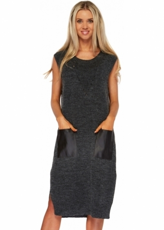 Charcoal Knitted Jumper Dress With PU Pockets
