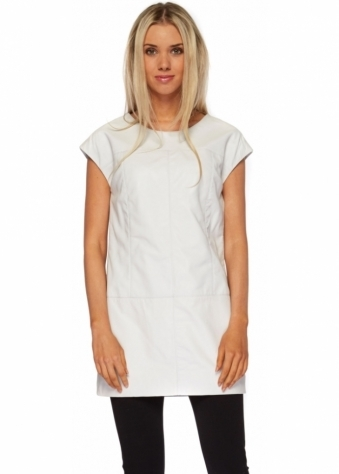 White Leather Mini Tunic Top With Draped Back