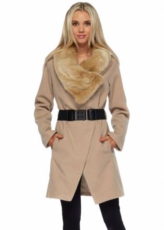 Oversized Faux Fur Collar Caramel Belted Coat