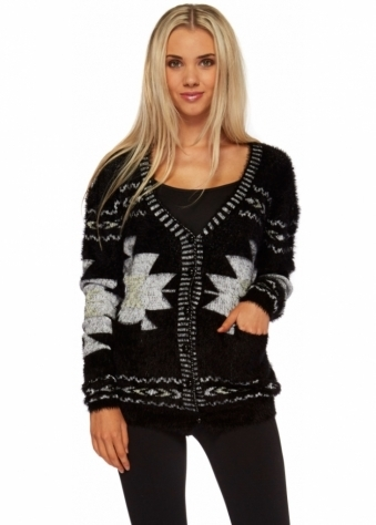 Designer Desirables Black Fluffy Patterned Long Sleeve Cardigan