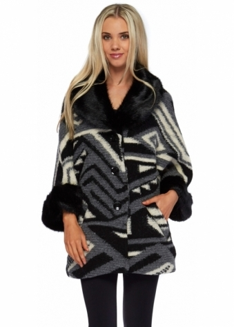 J&L Paris Black Faux Fur Collar & Cuffs Short Swing Wool Coat
