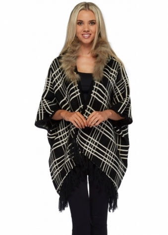 Black Plaid Poncho With Faux Fur Trimmed Detachable Hood