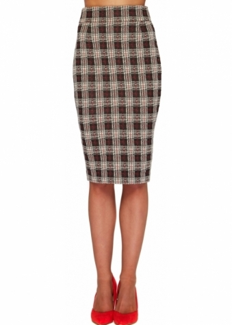 Vesper Aydon Red Check Pencil Skirt