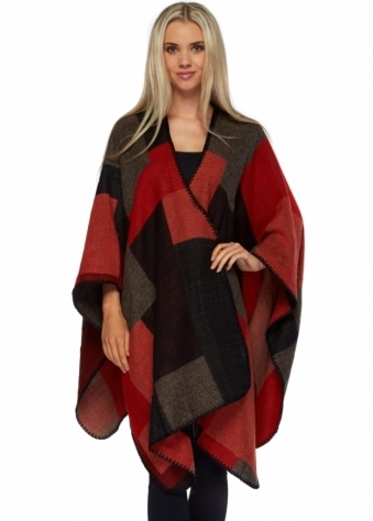 Colour Block Black & Red Oversized Blanket Cape