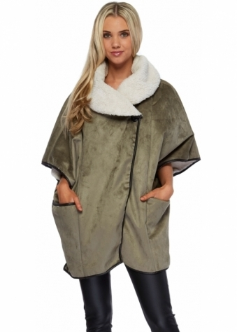 J&L Paris Sage Green Faux Sheepskin Short Cape Coat
