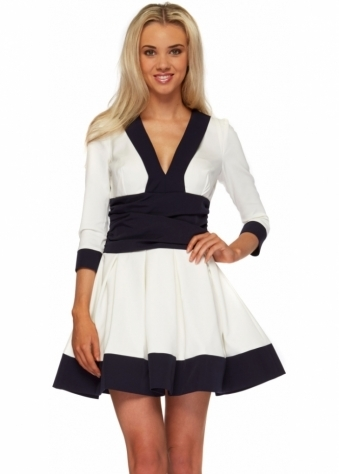 White Contrast Hem Long Sleeve Skater Cayla Dress