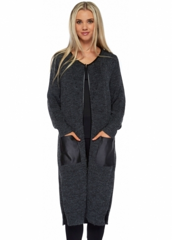 Designer Desirables Charcoal Long Knitted Cardi Coat With Pu Pockets