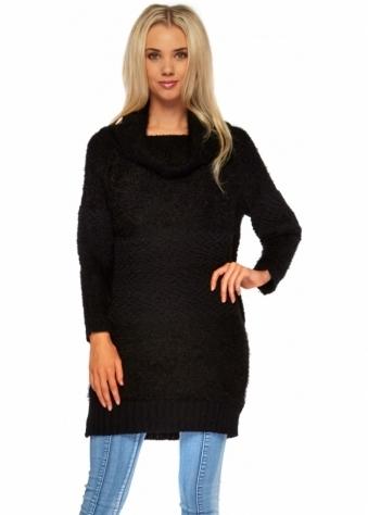 Designer Desirables Fluffy Bobble Black Polo Neck Jumper