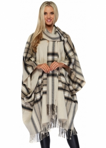 Monton Beige Tartan Fringed Cape Coat With Long Scarf