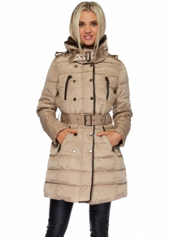 Designer Desirables Beige Faux Fur Collar Belted Quilted Coat