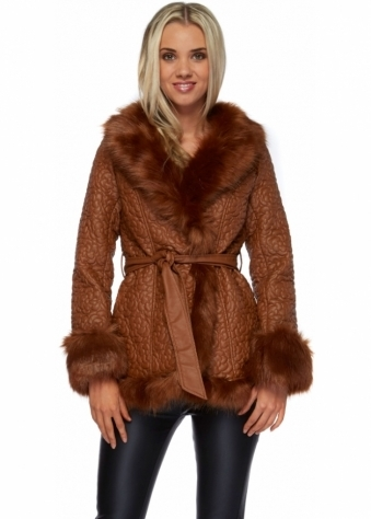 French Boutique Tan Floral Embossed Faux Leather & Faux Fur Jacket