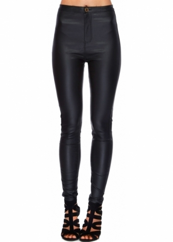 Designer Desirables Black PU Stretch Fit Skinny High Waisted Jeans