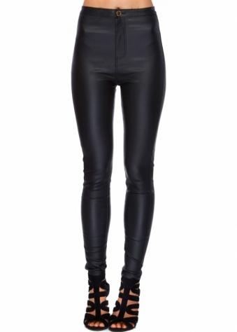 Black PU Stretch Fit Skinny High Waisted Jeans
