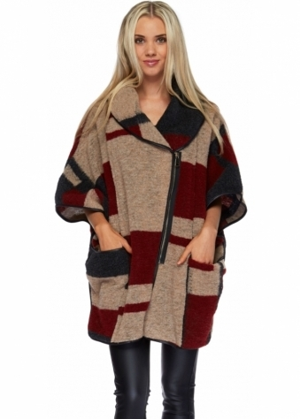 Monton Charcoal Beige & Red Patchwork Zip Front Cape Coat
