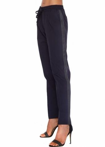 Silvian Heach Navy Blue Tuxedo Style Side Pocket Trousers